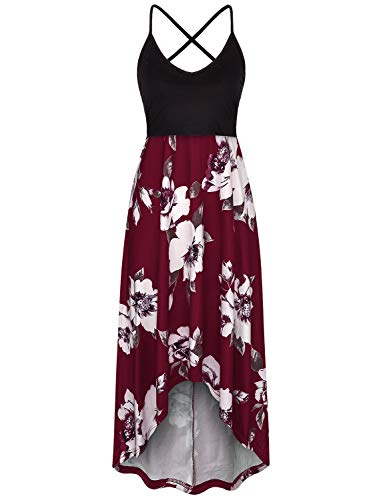 Baikea Cami Dress Plus Size,Contrast Color Pregnancy Dresses Pick Up Breastfeed Baggy Summer Dresses for Women 2019 Hankerchief Hemline Roomy Fly Away Clothing Wine Red XL (Best Female Pick Up Lines)