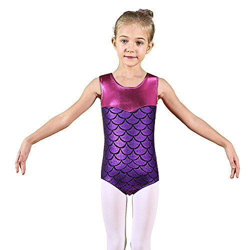 BAOHULU Girls Gymnastics Leotards Shiny Spliced Scale Dance Clothes 3-12 Years B148_Purple_6A