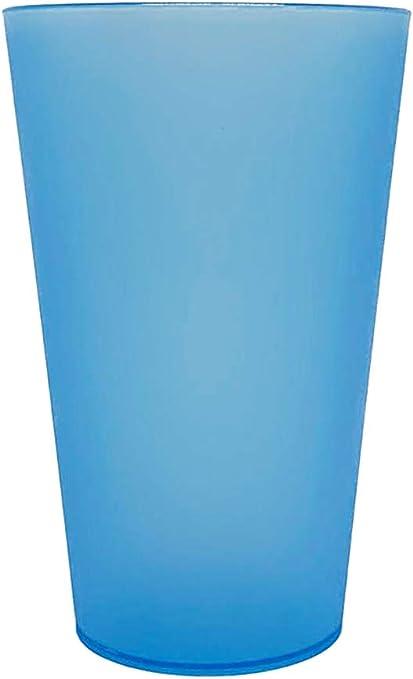Monteluz - Juego de 18 Vasos de Plástico Reutilizables Duros y Originales - Irrompibles - 330ml Libres de Bpa (Azul, 18): Amazon.es: Hogar