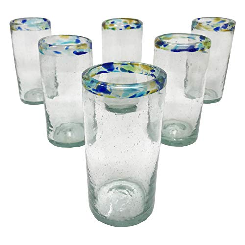 (LA MEXICANA Mexican Hand Blown Drinking Glasses Cobalt Multicolor Dots Rim Recycled Glass, 16 oz. (set of 6), Multicolor Rim)