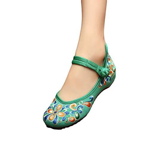 Excellanyard Femmes Mary Jane Broderie Chinoise Plat Chaussures 02-vert