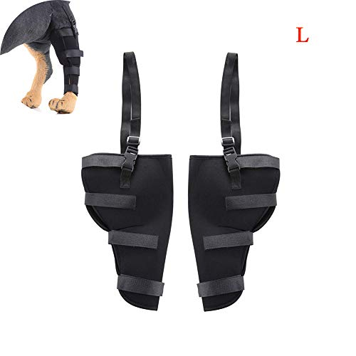 Dog Leg Brace,Dog Hind Leg Brace Protector,Dog Joint Bandage Wrap-Wound and Sprain Extra Supportive for Loss of Stability(2Pcs),L
