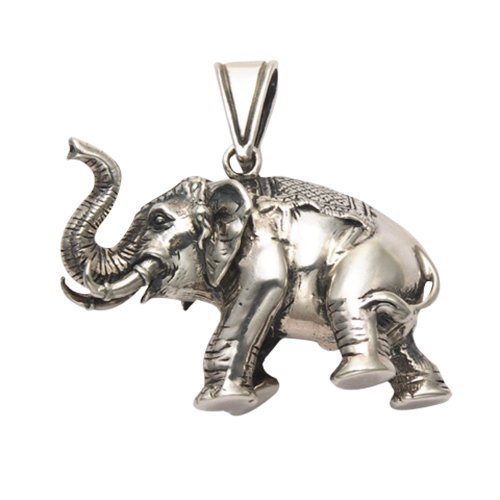 Wild Things Large Sterling Silver 3D Elephant Pendant ()