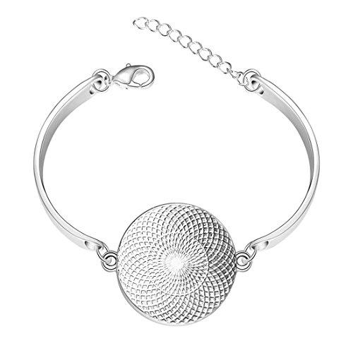Silver Bangle Bracelet Flower Of Life Turquoise Sacred