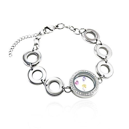 EVERLEAD Charm Waterproof Stainless Steel Glass Living Floating Locket Bracelet Screw Locket Bracelet