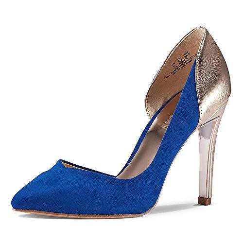 JENN ARDOR Women's Pointed Toe Stiletto High Heel Pumps Ladies Patchwork D'Orsay Slip On Dress Party Shoes (7, Blue)