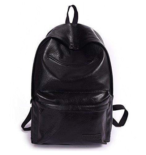 Tibes Moda mochila impermeable Mochila de cuero PU Mochila para mujer Negro4