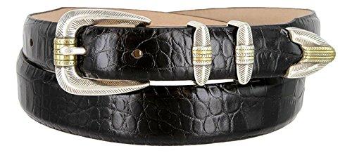 Belt Calf Skinny Leather (Hagora Men Genuine Calfskin Leather Eclectic Embossings 1-1/8