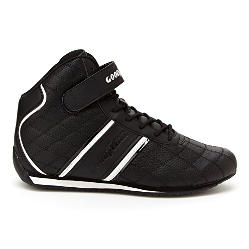 - Goodyear Mens Clutch Racer Sneaker - High-Top Sneakers, PU Leather & Mesh Lining Black/White