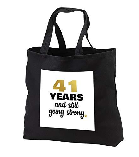 Janna Salak Designs Anniversary - 41 Year Anniversary Still Going Strong 41st Wedding Anniversary Gift - Tote Bags - Black Tote Bag 14w x 14h x 3d (tb_289676_1) by 3dRose