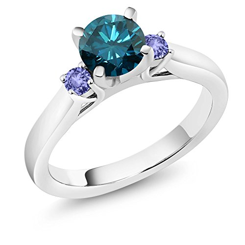 1.04 Ct Round Blue Diamond Blue Tanzanite 925 Sterling Silver 3-Stone Ring