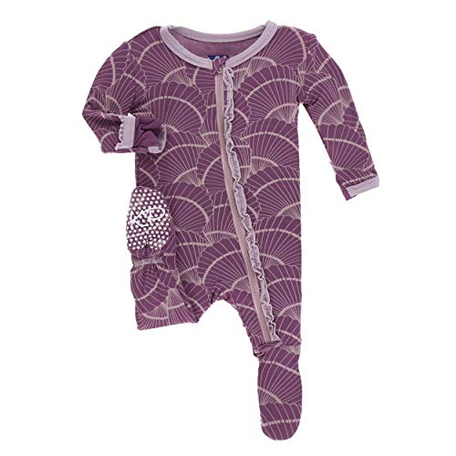 - Kickee Pants Little Girls Print Muffin Ruffle Footie with Zipper - Shell Fossils, Newborn