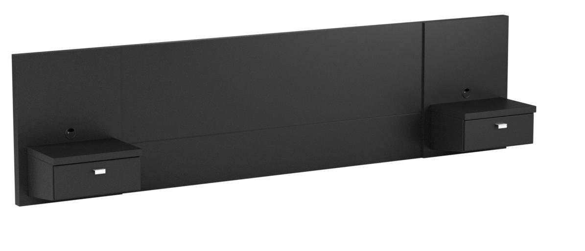 Prepac BHHQ-0520-2K Series 9 Designer Floating Headboard with Nightstands, Queen, Black
