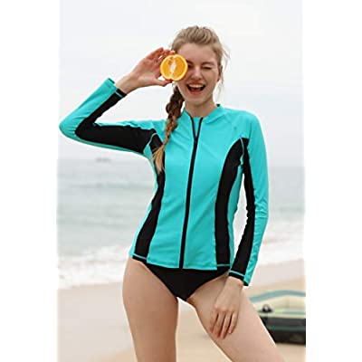 ATTRACO Women's Rashguard Swimsuit Zip Front Sun Protection Swim Shirt UPF 50+ at Women's Clothing store