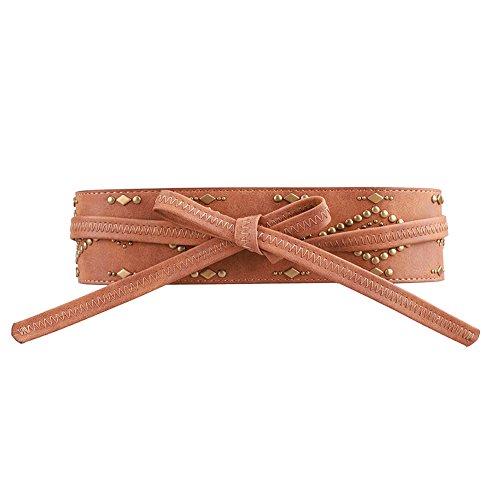 Earnda Belts For Women Soft PU Faux Leather Waist Belt Boho Sash Bow Tie Wide Belt for Dress Brown (Soft Wide Sash)