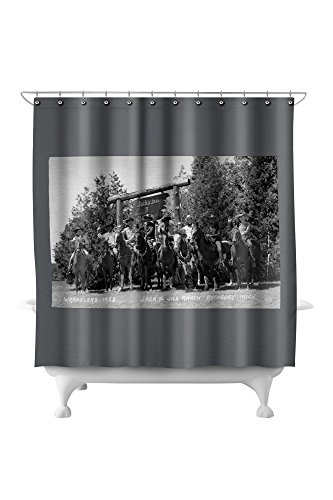 (Rothbury, Michigan - Wranglers at the Jack and Jill Ranch (71x74 Polyester Shower Curtain))