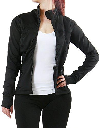 Womens Activewear Zippered Stretchy Training Jacket (S.M.L.XL) (X-LARGE, BLACK)