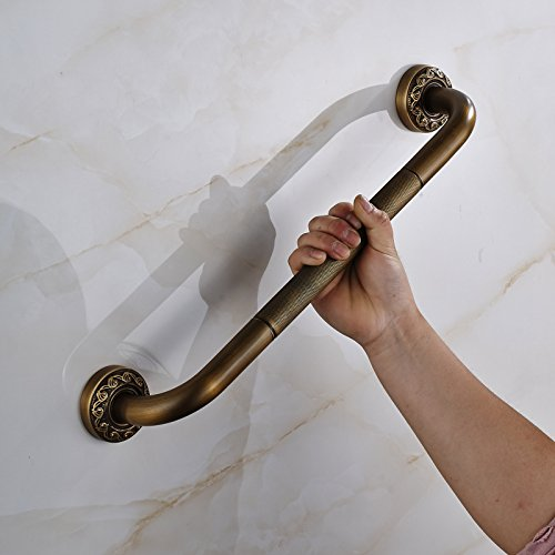 Rozin Antique Brass Tub Safety Grab Bar Wall Mount Handgrip