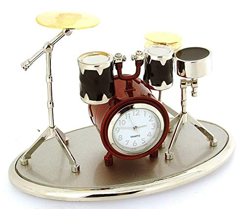 (Miniature Drum Kit Novelty Silver, Red & Black Tone etal Collectors Clock 0341)