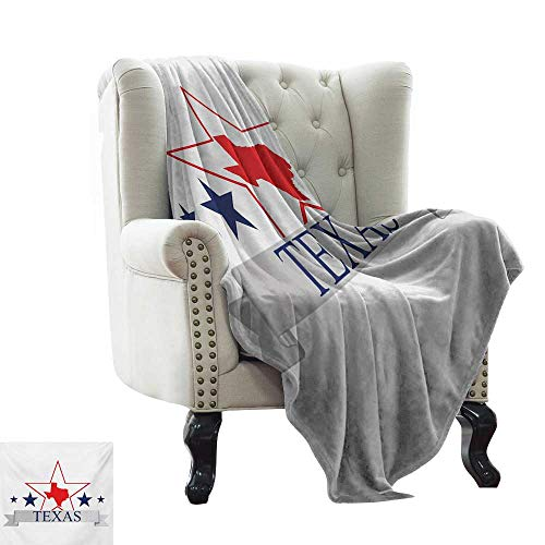 BelleAckerman Knit Blanket Texas Star,San Antonio Dallas Houston Austin Map with Stars Pattern USA,Navy Blue Vermilion Pale Grey Colorful | Home, Couch, Outdoor, Travel Use 70