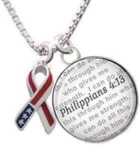 Bible Verse Philippians 4:13 Glass Dome Necklace 18+2 Silvertone Patriotic Ribbon
