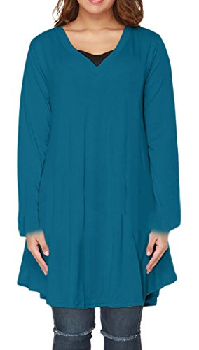 Women's Ruched Size Mini Dress Long 2 Loose Plus Domple Sleeve Neck Irregular V ESwdEOAq