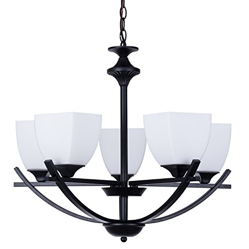 Alice House 24 Dining Room Chandeliers, Black Finish, 5 Light Kitchen Light Fixtures with 72 Chain, Farmhouse Lighting AL12077-H5