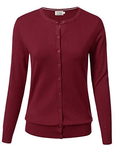 Burgundy Cardigan Sweater - ARC Studio Women Button Down Long Sleeve Crewneck Soft Knit Cardigan Sweater 1XL Burgundy