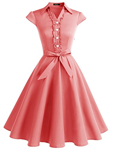 (Wedtrend Women's 1950s Cap Sleeves Swing Vintage Party Dresses Multi Colored WTP10007Coral2XL)