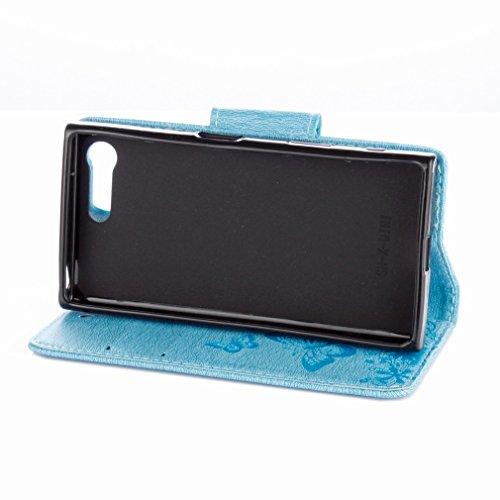 Yiizy Sony Xperia X Compact Custodia Cover, Farfalla Fiore Design Sottile Flip Portafoglio PU Pelle Cuoio Copertura Shell Case Slot Schede Cavalletto Stile Libro Bumper Protettivo Borsa (Blu)