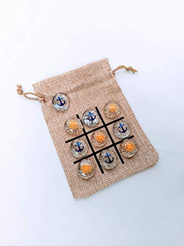 Tic Tac Toe Game - Cruise Fish Extender or Pixie Dust Gift - Birthday Party Favor - Travel Size Game - Sun and Anchors