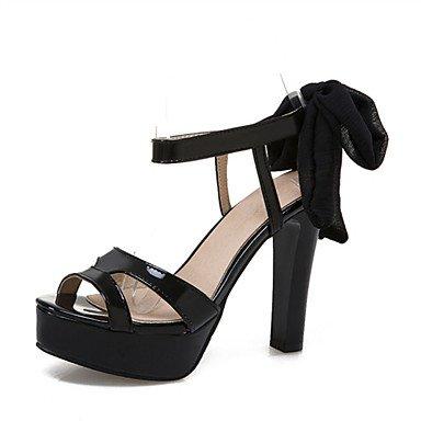 LvYuan Mujer-Tacón Robusto-Confort Zapatos del club-Sandalias-Oficina y Trabajo Fiesta y Noche Vestido-Materiales Personalizados Cuero Patentado Red