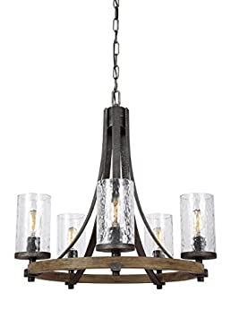 Feiss F3133 5DWK SGM Angelo Glass Chandelier Lighting with Shades, Iron, 5-Light 24 Dia x 25 H 300watts