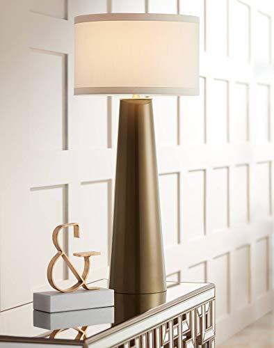 Karen Modern Table Lamp Tapered Tall Dark Gold Glass Off White Fabric Drum Shade for Living Room Family Bedroom - Possini Euro ()