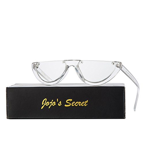JOJO'S SECRET Half Frame Women Cat Eye Sunglasses Brand Designer Fashion Eyewear JS037 (Transparent White/Clear, - Sunglasses Secret Service