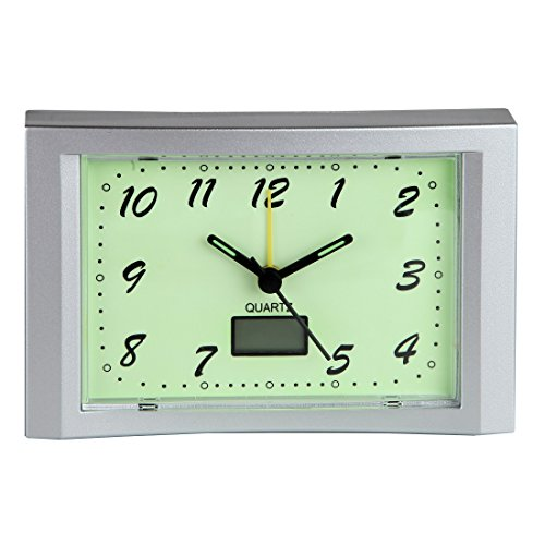 Home-X Glow in the Dark Alarm Clock, The Perfect Addition to Any Morning Routine, Includes Built-In Digital Thermometer