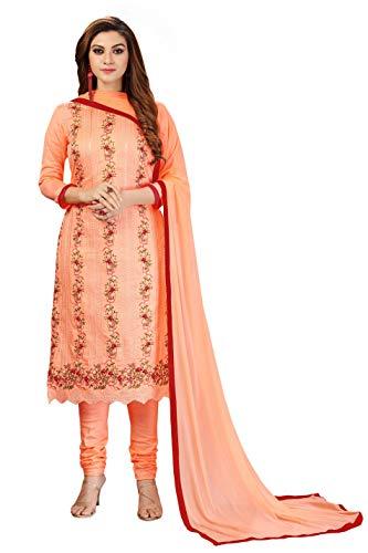 Nivah Fashion Women's Embroidery Cotton Dress Material (NH.G64-LightOrange)