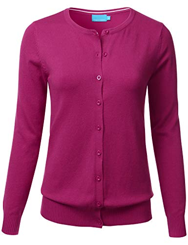Cotton Blend Crewneck Sweater - FLORIA Women's Button Down Crew Neck Long Sleeve Soft Knit Cardigan Sweater Magenta S
