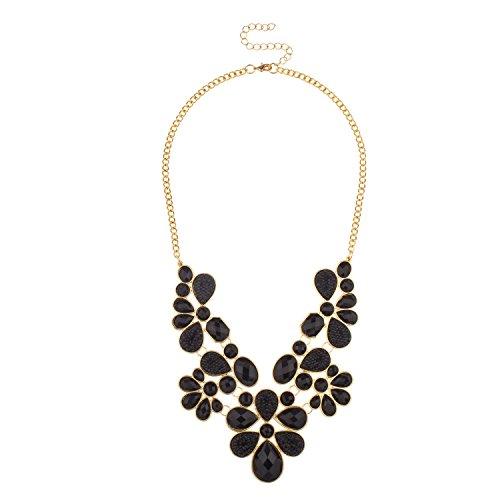 Lux Accessories Black Faceted Cavier Teardrop Stone Bib Statement Necklace (Necklace Bib Drop)