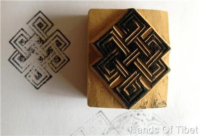Hand Carved Wooden Eternal Knot Stamp From Nepal