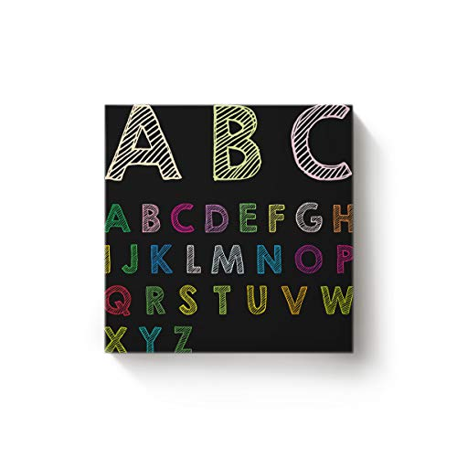 (BMALL Art Oil Painting Letter Graffiti Stripe Design Print Art Hand Painted on Canvas Ready to Hang for Home Wall Decor 12x12inch)