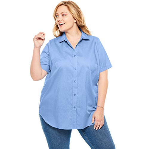 Woman Within Women's Plus Size Perfect Short Sleeve Button Down Shirt - French Blue, 1X
