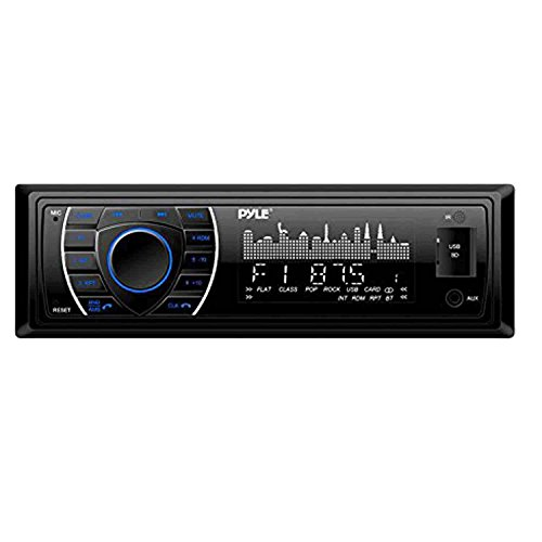 PYLE PLRMR27BTB Marine Bluetooth Receiver Stereo(Black) w/Pyle 3.5'' 200W 3-Way Weather Proof Mini Box Speakers(3-Pairs), Pyle 4-Chan 400W WP Marine Amp, Enrock Marine Antenna & 50' 16G Speaker Wire by PyleMarineBundle (Image #1)