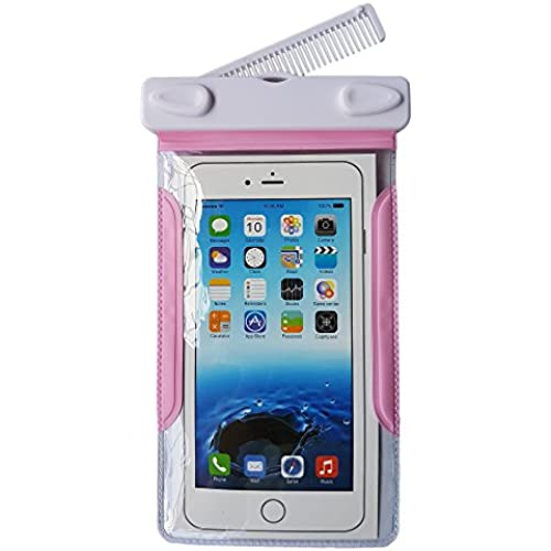 Waterproof Case, Universal Clear Dry Case Bag with a Comb for Iphone 6 6s plus Samsung Galaxy S7 Edge (Pink) Sales
