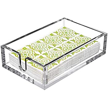 CY craft Acrylic Guest Towel Napkin Holder,Clear Bathroom Paper Hand Towels Storage Tray Modern Buffet Napkin Caddy,Fancy Flat Napkin Holders For Kitchen or Dining Room,9x5.5x2.5 Inch,Pack of 1