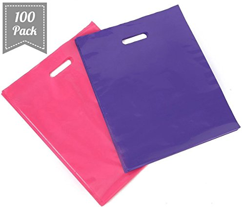 [ 100 Count, 16'' X 18'' ] Extra Durable Glossy Pink and Purple Merchandise Bags, Premium Plastic Retail, Gift, Party, Shopping Bags - PackItChic by Pack It Chic