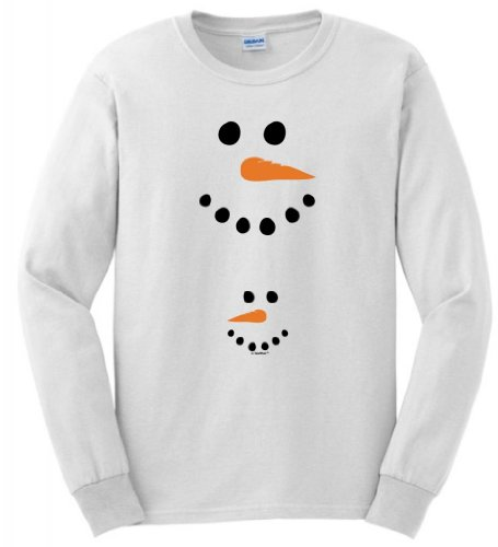 Pregnant Snowman Belly Maternity Themed Long Sleeve T-Shirt Small White