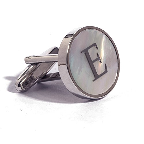 - Digabi Initial Letter Cufflinks 18K White Gold Mother of Pearl E