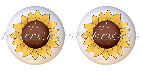 (SET OF 2 KNOBS - Sunflower #022 - Flowers Plants Flower Bouquet Floral - DECORATIVE Glossy CERAMIC Cupboard Cabinet PULLS Dresser Drawer KNOBS)