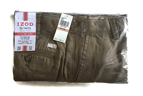 IZOD Men's Saltwater Flat Front Slim Fit Chino Pant (28W x 32L, Dusty Gravel) (Washed Down Chino Pants)